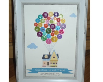 UP Inspired Button Balloon House Art Print Adventure is out There - Pixar Anniversary / Wedding / New Baby/ Bon Voyage Gift