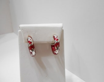 Vintage Red Enamel & Sterling Hoop Pierced Earrings (8126) 925 Milor Italy