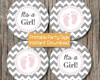 Powder Pink Grey Baby Shower Decorations Baby Feet Cupcake Toppers Instant Download Printable Favor Tags Party Supplies Its a Girl 243