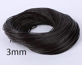 2 meters 3mm Deep Coffee Brown Leather Cord