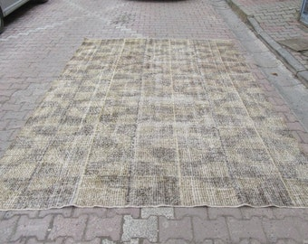 7.6x11 Ft Vintage beige and black art deco Turkish rug