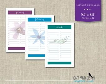 Printable Floral Calendar - Birthday Calendar - Anniversary Calendar - Eternal Planner - Instant Download PDF