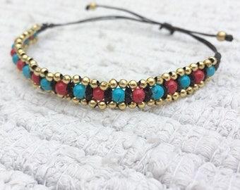 Bohemian Bracelet, Festival, Beaded Charm Bracelet