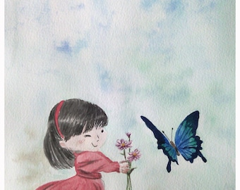 original watercolor, painting of a little girl with a butterfly
