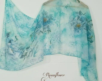Handpainted Silk  blue and green scarf, wedding gifts, unique gifts, mother's day gift, gift for her