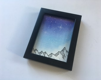 Watercolor Galaxy Painting, Night Sky Decor, Mountain Painting Constellation Art, Watercolor Night Sky Painting, Stars Home Decor, Forest