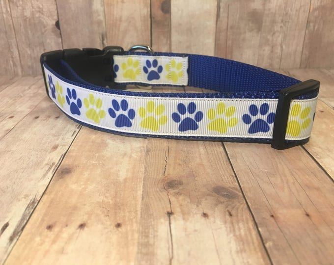 "The Clyde - Exclusive Blue & Yellow Paw Prints | Designer 1"" Width Dog Collar 