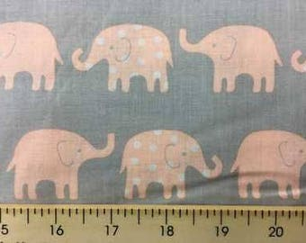 Peach Pink Elephants on Gray Fabric with Circus Elephant Cotton Fabric w10/33