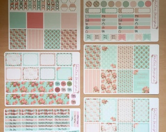 Weekly Planner Sticker- Peach and Teal Floral: made to fit the Happy Planner, EC, Filofax, Kikki. K and more