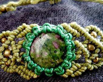 Unakite jasper bracelet/macrame bracelet/bohemian jewellery