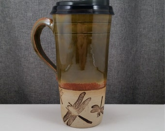IN STOCK* Ceramic Travel mug / Commuter mug with silicone lid - Honey Green/ DragonFlys