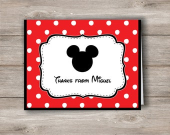 Mickey Mouse Personalized Note Cards with Editable Text, Mickey Mouse Note Cards, Mickey Mouse Stationery, Mickey Mouse Thank You Note Card