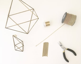 DIY Kit & Pattern: Geometric Octahedron Himmeli - Coffee Table Decor - Minimalist Orb - Brass Cube - Airplant Mobile - Wedding Centerpiece