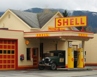 Seattle Photo, Look of the past photo Shell Gas Station photo, man cave decor, home decor, red & yellow, wintry, retro, old car, nostalgia