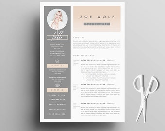 Resume Template And Cover Letter + References Template For Word | DIY  Printable 5 Pages |