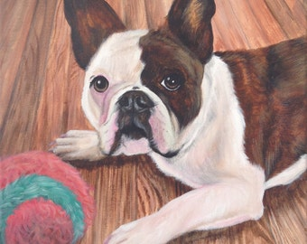 12x12 Custom French bulldog painting from photo on canvas hand painted pet portrait art