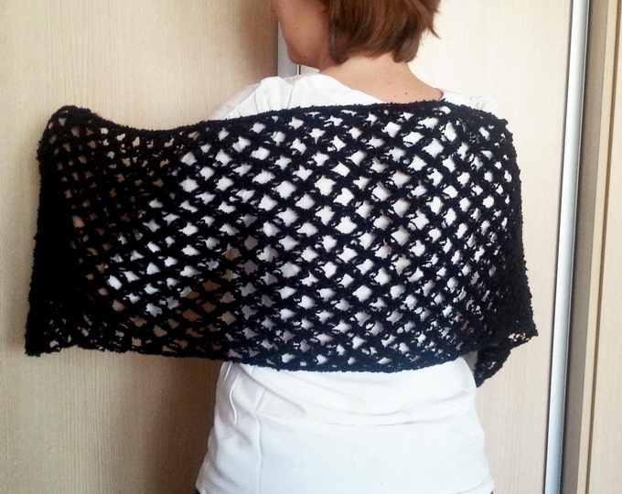 Wedding shawl black mist, bridesmaid shawl crochet shawl scarf,  solomon scarf, lace shawl, shawl wrap, winter wedding