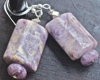 EARRINGS: in a purple violet cream Amethyst that dangles sterling silver jewelry jewelery OOAK
