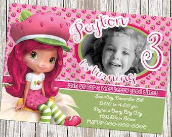 Strawberry Shortcake Birthday Invitation - With Photo