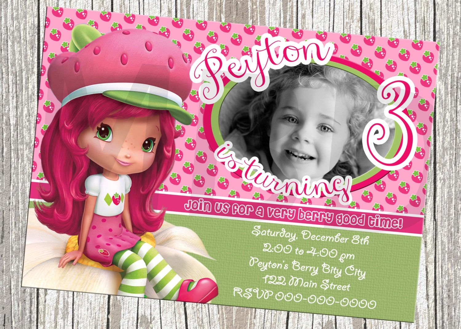 Strawberry Shortcake Birthday Invitation With Photo
