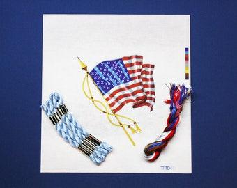 Needlepoint Kits, American Flag Needlepoint Kit, US Flag Needlepoint Kit, Needlework Flag Kit, Needlepoint Flag, Patriotic Needlepoint Kits
