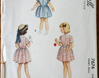 Vintage 1940's McCall's #7674 Girl's Size 6 - Views A,B,C, Short or Long Sleeve Dress