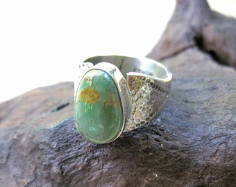 Wide Band handmade Silver Ring with green Turquoise - Majestic Silver Turquoise Ring - Green Turquoise Ring