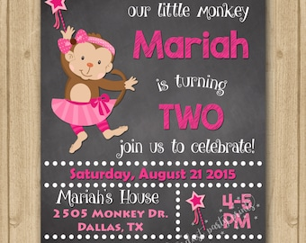 Monkey Birthday Invitation, Monkey Invitation, Monkey Girl Birthday Invitation, Monkey Tutu Invitation, Tutu Invitation