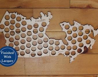 Beer Cap Map of Canada, 69 Beer Cap Holes, Laser Cut, Baltic Birch, Paul Szewc, Masterpiece