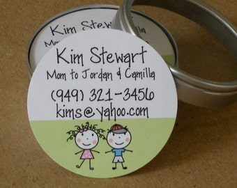 Mini Round Calling Cards, Mommy Cards in Tin - Set of 45 cards - YOU CHOOSE graphic