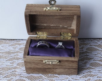 Personalized wedding ring box; Bride and Groom ring box; ring bearer pillow alternative; rustic finish