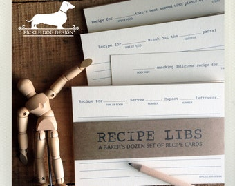 Recipe Libs. A Baker's Dozen (Qty 13) Set of 4x6 Recipe Cards -- (Funny, Humorous, Fun Gift, Bridal Shower Favor, Mad Libs, Gift Under 15)