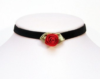 Gothic choker Elegant Red rose Velvet choker necklace - AMELIA Victorian goth