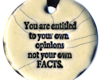 Opinions and Facts Ceramic Necklace in Cream Crackle