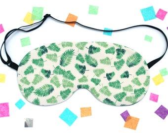 Palm Leaf Sleep Mask, Tropical Eye Mask, Plant Eye Mask, Silk Back, UK Gift