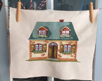 Handmade Cross Stitch Country Cottage Home Decor Ready to Frame
