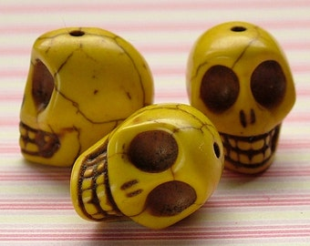 Yellow faux howlite skull beads set of 5