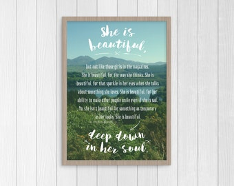Best Friend Print, She Is Beautiful, Best Friend Quotes, Friendship Quotes, Teen Girl Wall Art, Quotes for girls, Daughter Gift, Beautiful.
