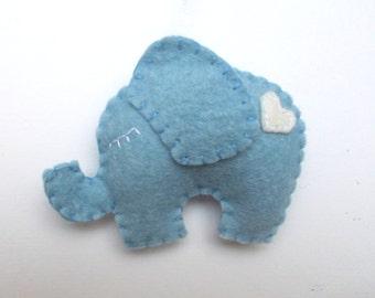 Lovely Elephant ornament - felt ornaments - Christmas/Housewarming home decor - Baby shower ornaments - Blue elephant with white heart