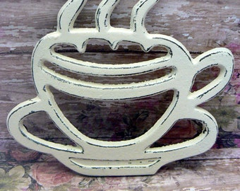 Coffee Cup Cast Iron Trivet Hot Plate Cream Off White Cottage Shabby Elegance Ornate Steam Swirls Tea Cup Kitchen Country Chic Decor