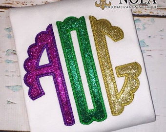 Mardi Gras Scallop Monogram Applique