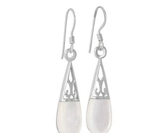 TAX Season Sale Sterling Silver Mother Of Pearl Oval Teardrop Earrings