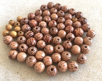 73 pieces 8mm Natural Palmwood Beads, Mala Beads