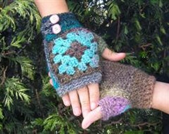 Granny mitts - fingerless gloves around a granny square - Easy crochet with pictorial - PDF crochet pattern -
