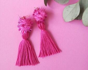 Pink pom pom tassel earrings, bright pink dangly earrings, statement earrings, gold earrings, festival style, pink glitter pompom earrings