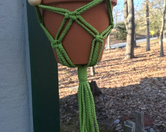 Colorful Classic Handmade Macrame Plant Hangers with Wood Beads  4mm Polyolefin Cord Boho Chic