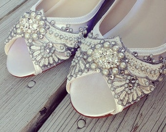 Wedding Shoes - Art Deco Inspired Peep Toe Wedge - Lace, Crystal and Pearls - Ivory/White/Custom Colors