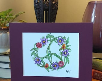 Mixed flowers and vines peace sign
