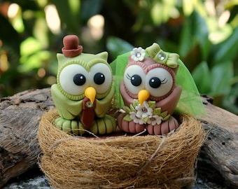Owl wedding cake topper, love bird cake topper with nest, bride and groom cake topper, fall cake topper, custom personalized cake topper