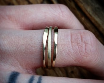 Stacking Bands Brass Stacking Rings SET OF 3 Simple Ring Set Simple Layer Rings Simple Boho Rings Stack Bands Stack Rings Hammered Brass